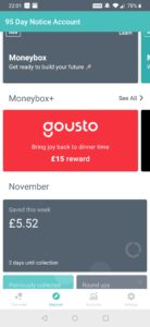 easily see how much money you have saved with the moneybox round up feature