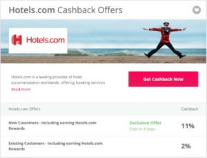 Quidco cashback offer on hotels
